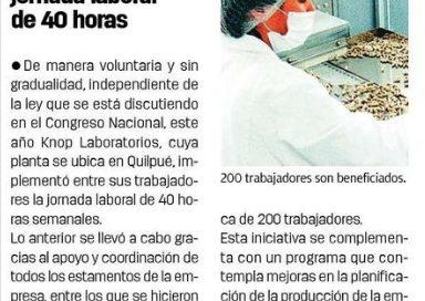 El Mercurio de Valparaíso destacó proyecto de 40 horas